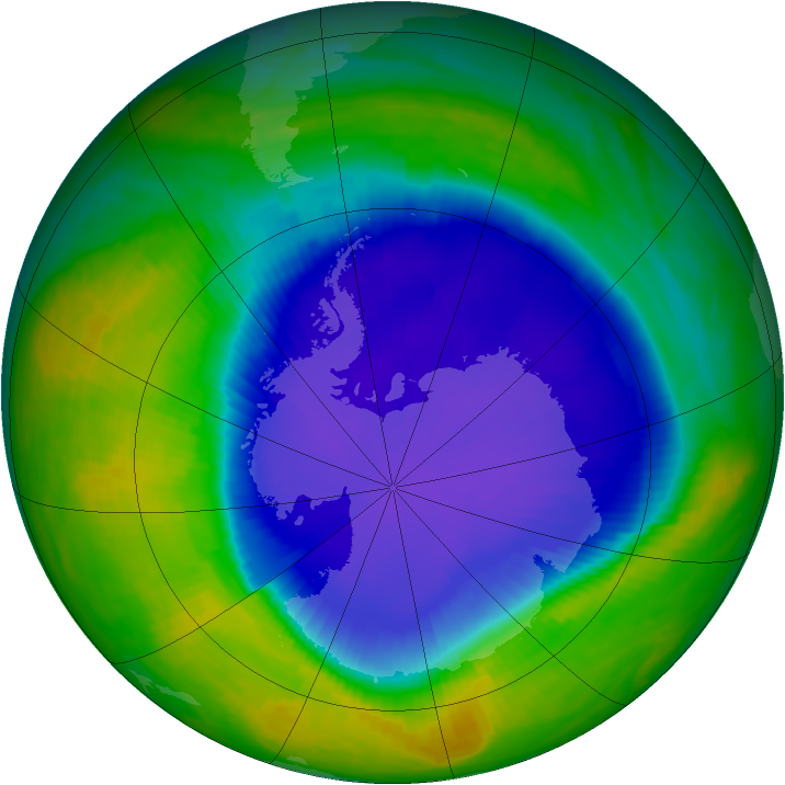 Antarctic ozone map for 29 October 1999