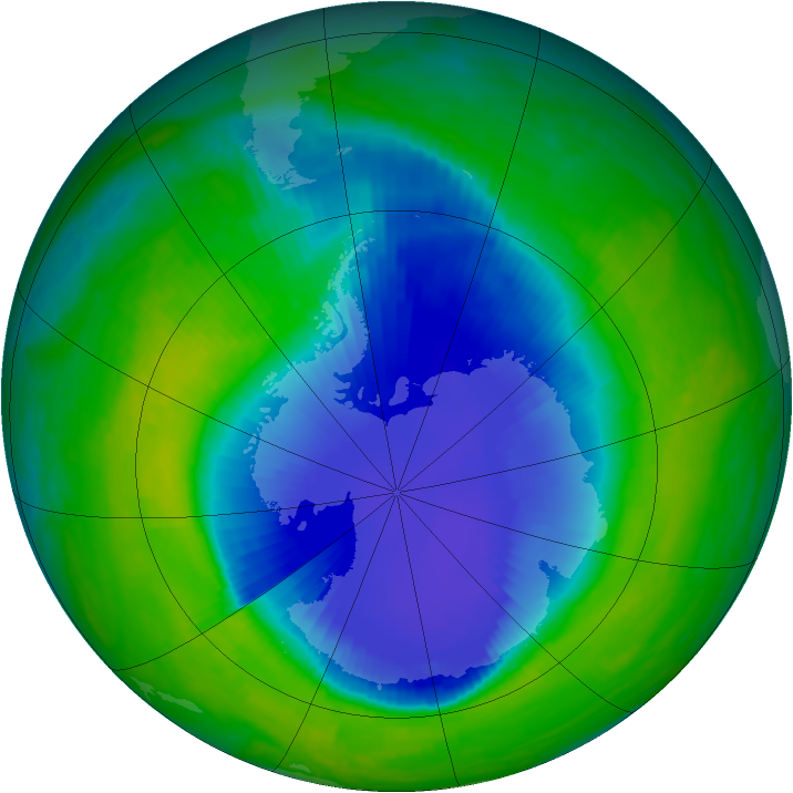 Antarctic ozone map for 22 November 1999
