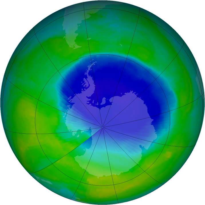Antarctic ozone map for 03 December 1999