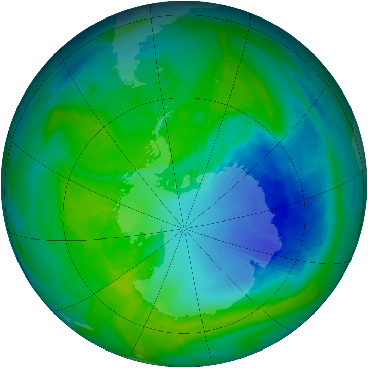 Antarctic ozone map for 11 December 1999