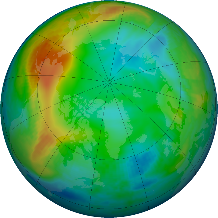 Arctic ozone map for 15 December 1999