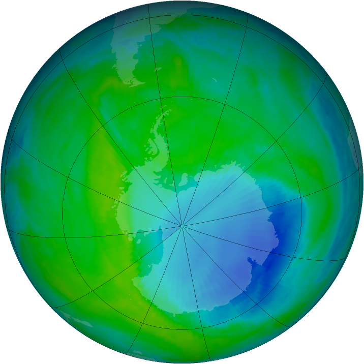 Antarctic ozone map for 15 December 1999