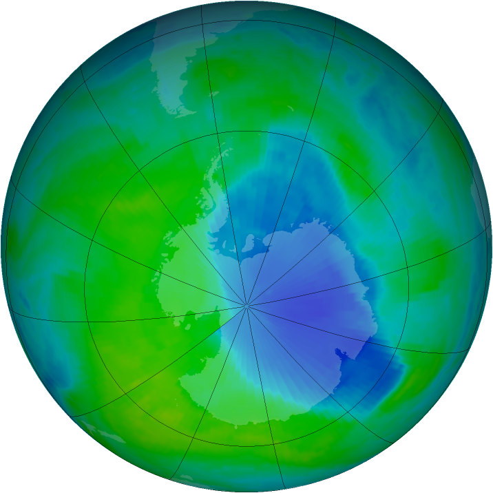 Antarctic ozone map for 21 December 1999