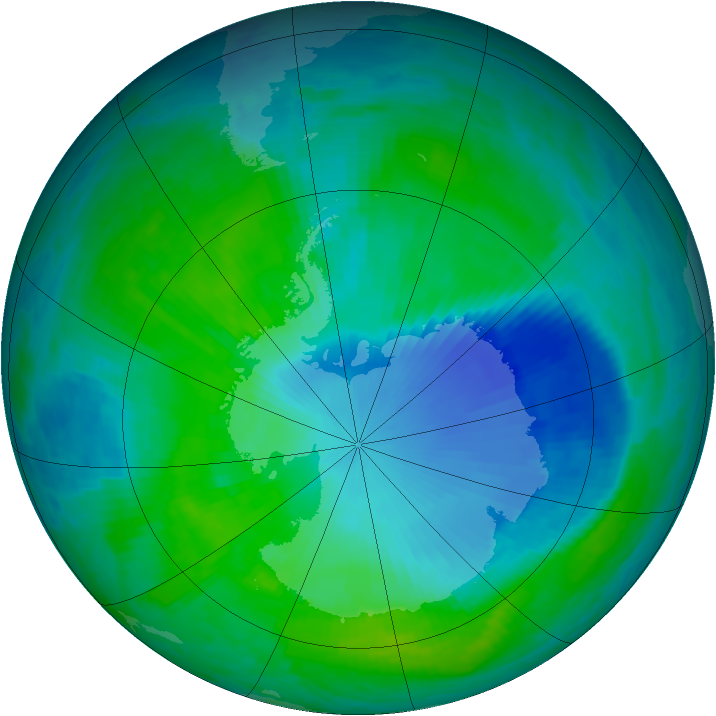 Antarctic ozone map for 26 December 1999