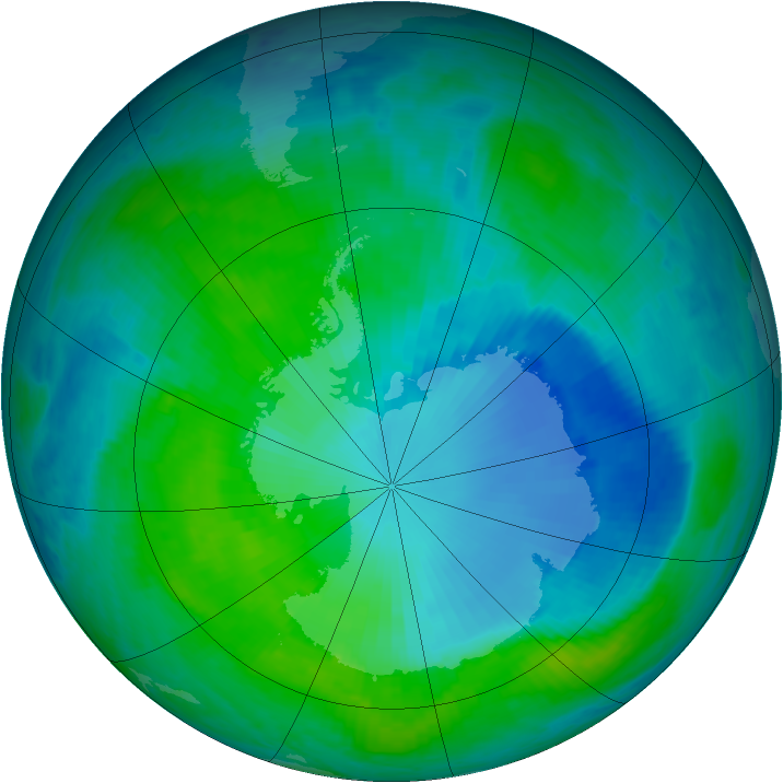 Antarctic ozone map for 27 December 1999