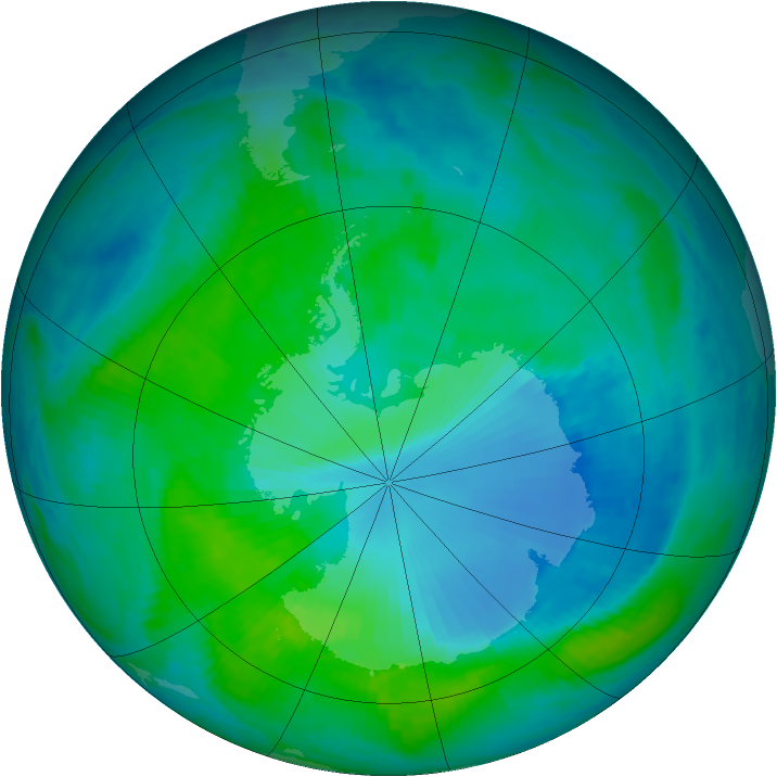 Antarctic ozone map for 29 December 1999