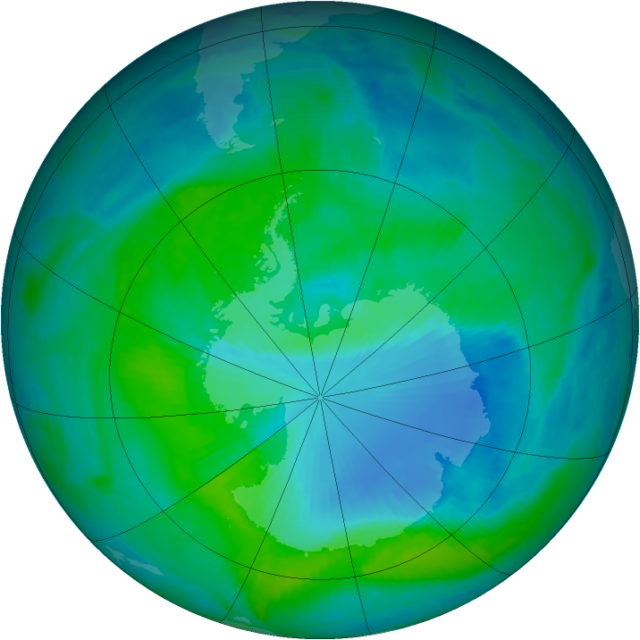 Antarctic ozone map for 30 December 1999