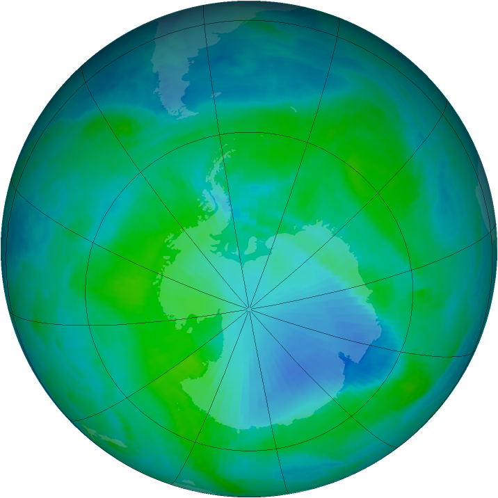 Antarctic ozone map for 03 January 2000