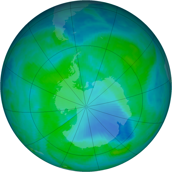 Antarctic ozone map for 04 January 2000