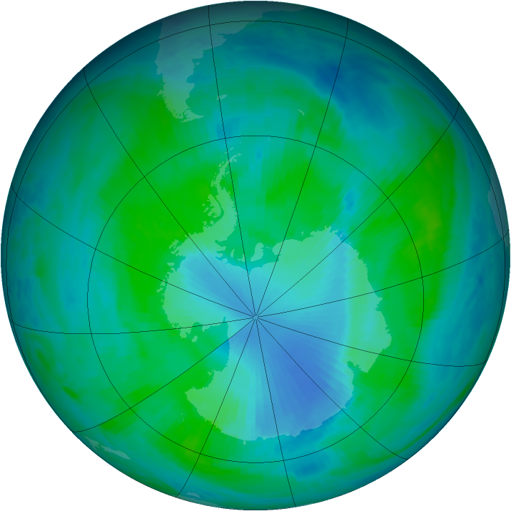 Antarctic ozone map for 06 January 2000