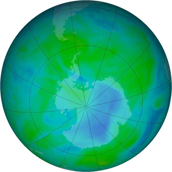 Antarctic ozone map for 09 January 2000