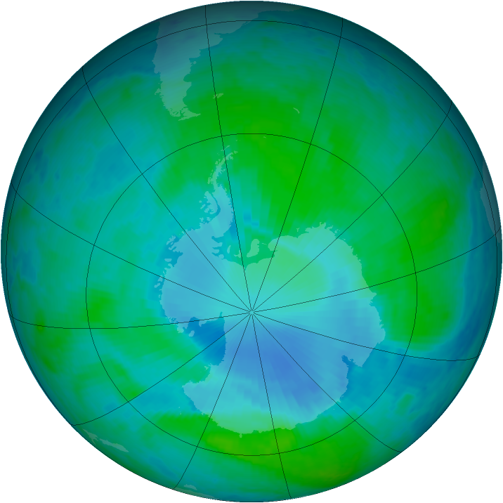 Antarctic ozone map for 11 January 2000