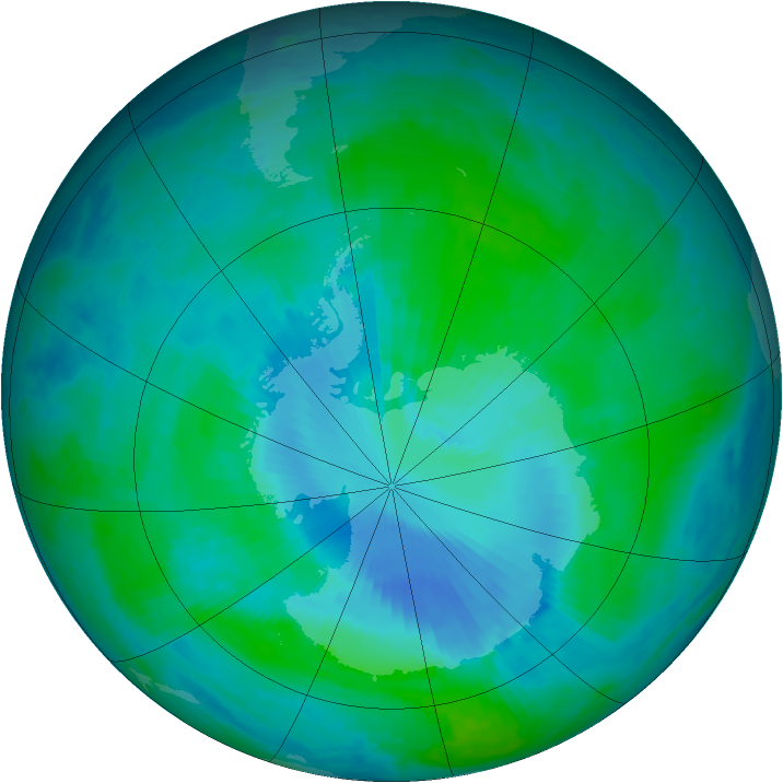 Antarctic ozone map for 12 January 2000