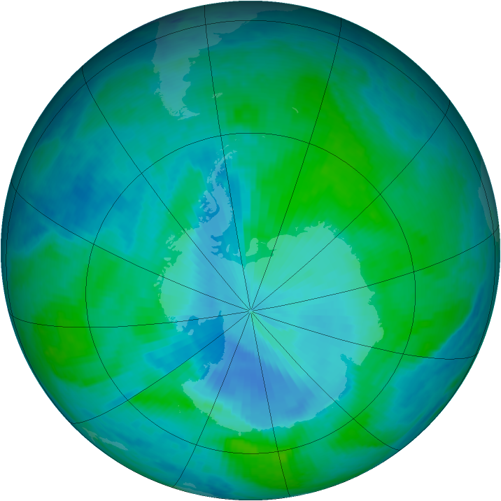 Antarctic ozone map for 13 January 2000