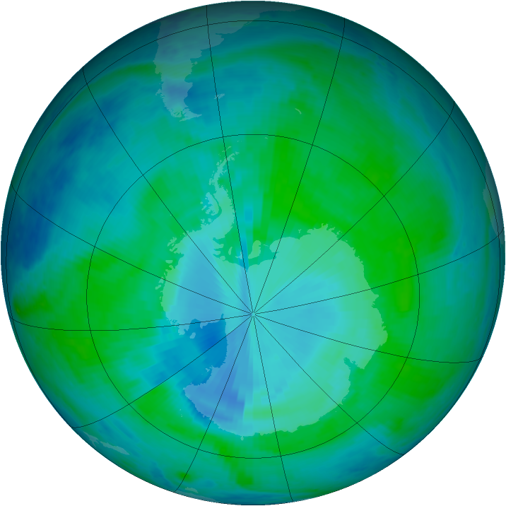 Antarctic ozone map for 15 January 2000