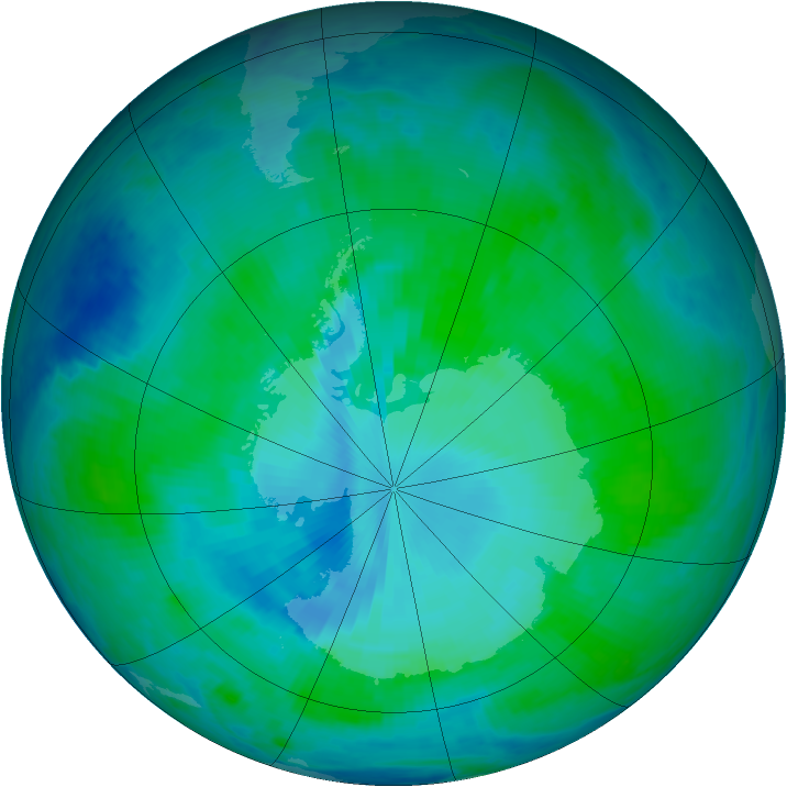 Antarctic ozone map for 16 January 2000