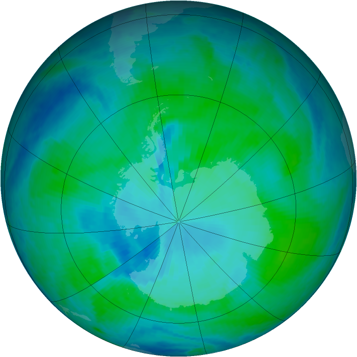 Antarctic ozone map for 17 January 2000