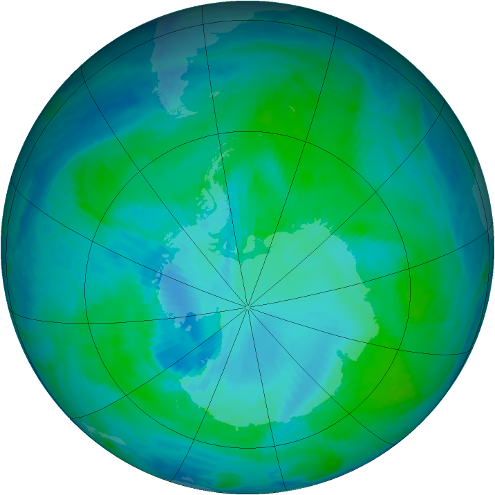 Antarctic ozone map for 18 January 2000