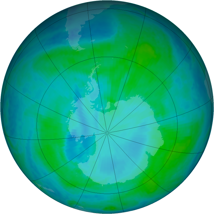 Antarctic ozone map for 19 January 2000
