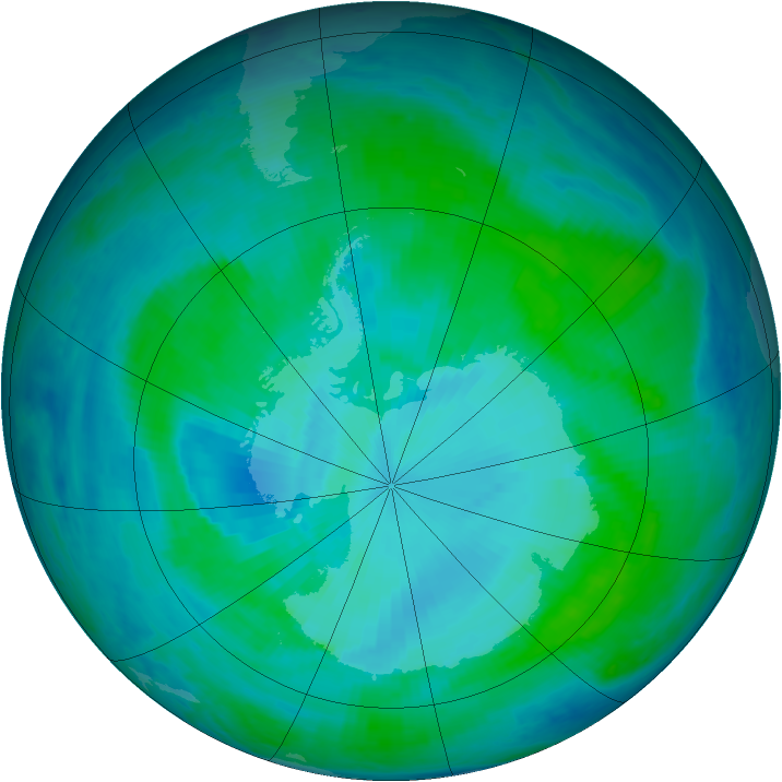 Antarctic ozone map for 21 January 2000