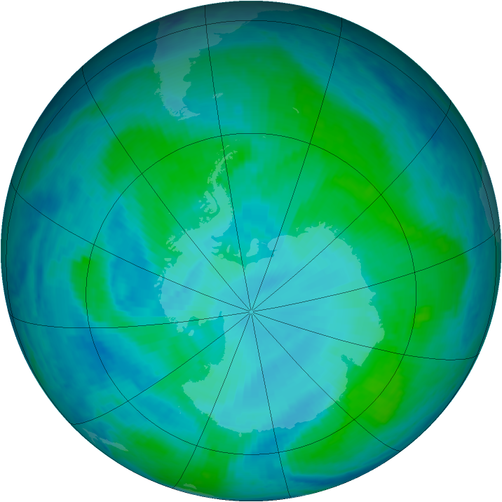 Antarctic ozone map for 22 January 2000