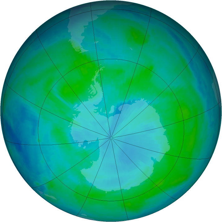 Antarctic ozone map for 25 January 2000