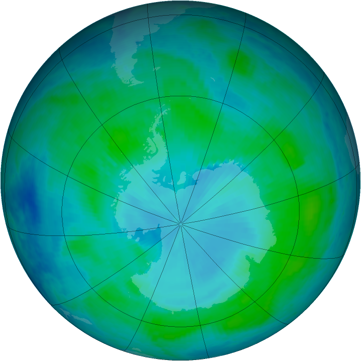 Antarctic ozone map for 26 January 2000