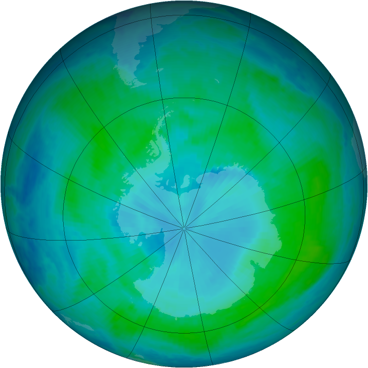 Antarctic ozone map for 27 January 2000