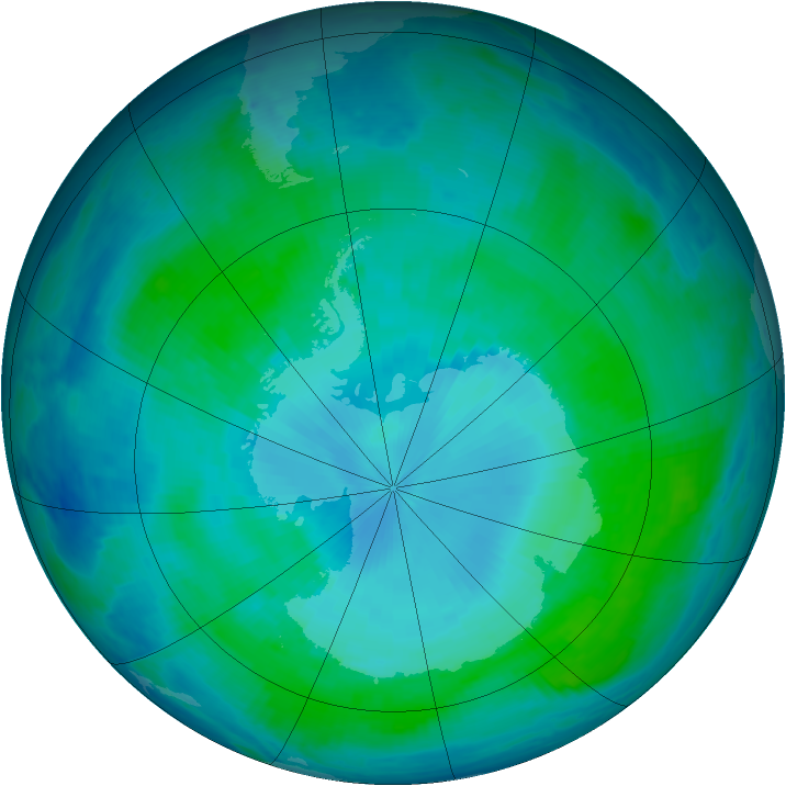 Antarctic ozone map for 28 January 2000