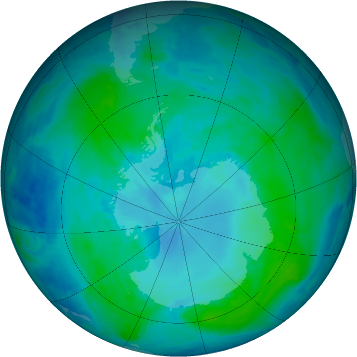Antarctic ozone map for 29 January 2000