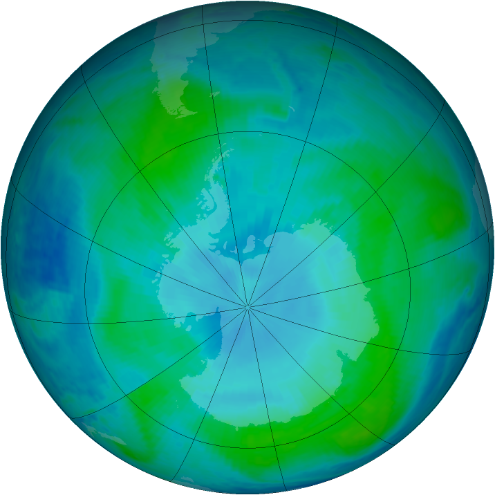 Antarctic ozone map for 30 January 2000