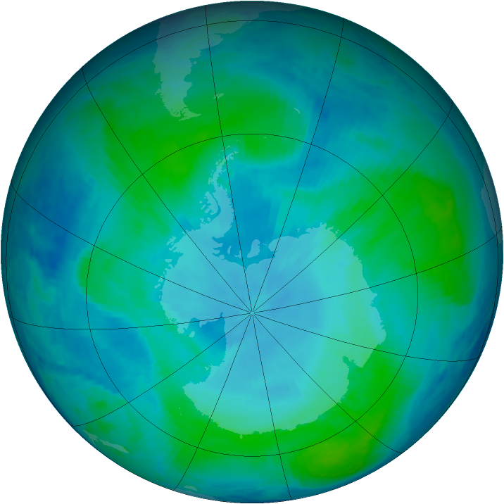 Antarctic ozone map for 31 January 2000