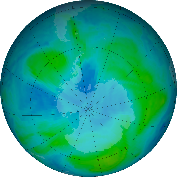 Antarctic ozone map for 02 February 2000