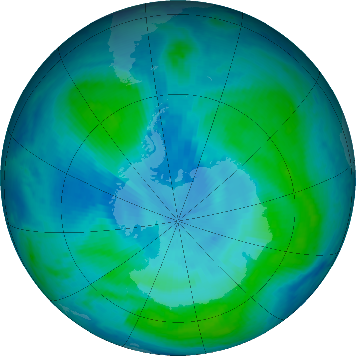 Antarctic ozone map for 03 February 2000