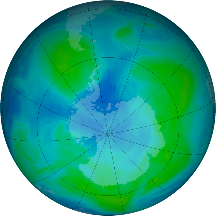 Antarctic ozone map for 04 February 2000