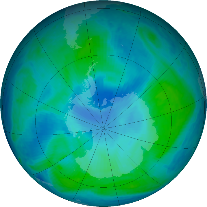 Antarctic ozone map for 06 February 2000