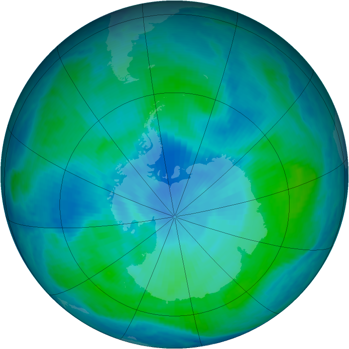 Antarctic ozone map for 07 February 2000