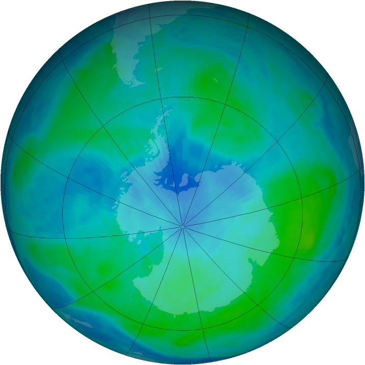 Antarctic ozone map for 08 February 2000