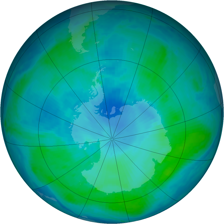 Antarctic ozone map for 09 February 2000