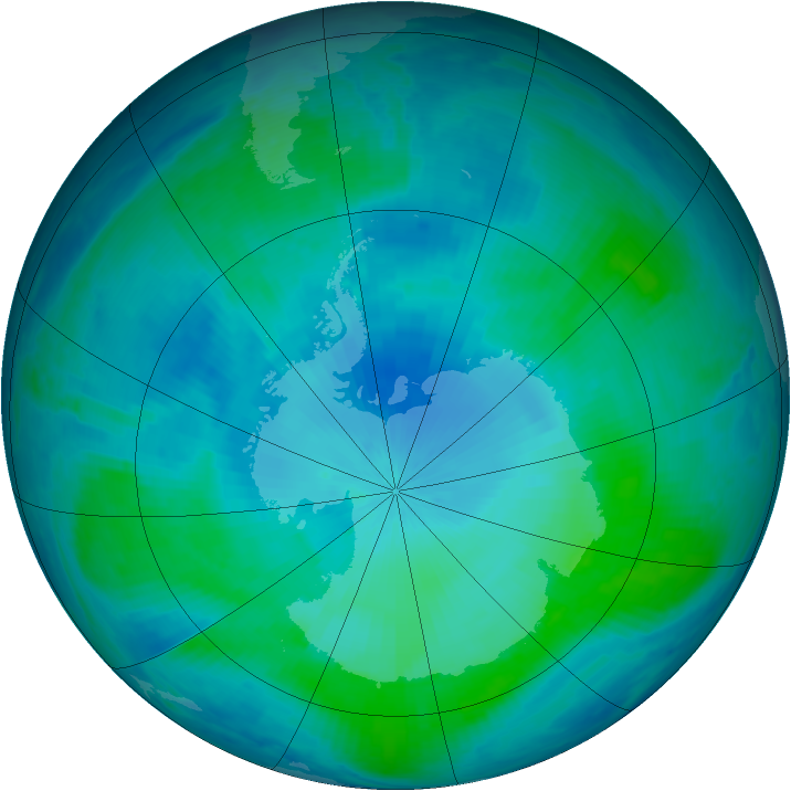 Antarctic ozone map for 10 February 2000