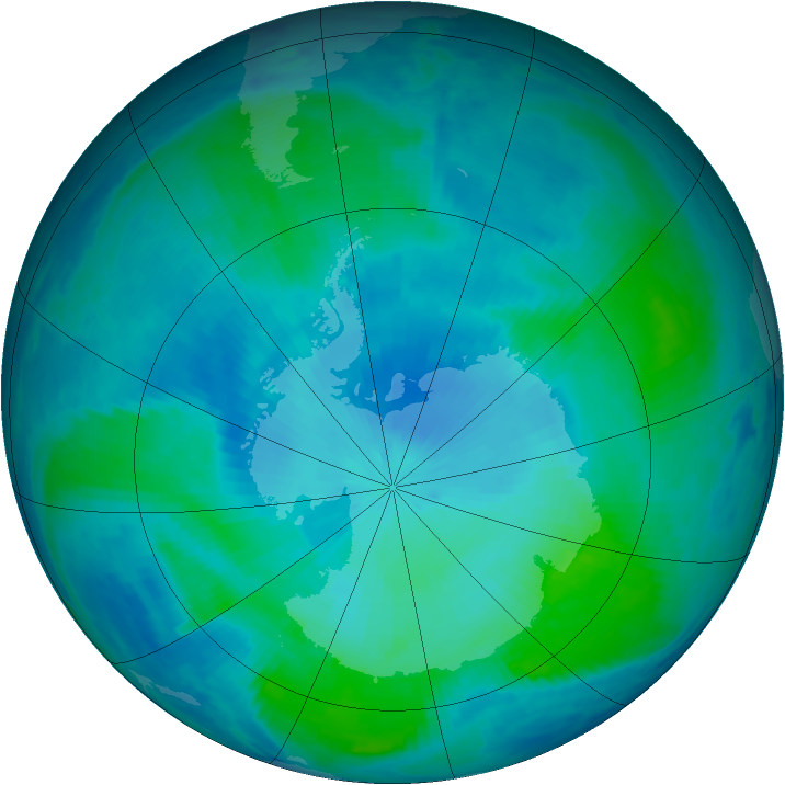 Antarctic ozone map for 11 February 2000