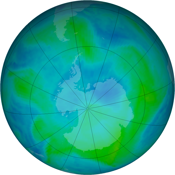 Antarctic ozone map for 13 February 2000