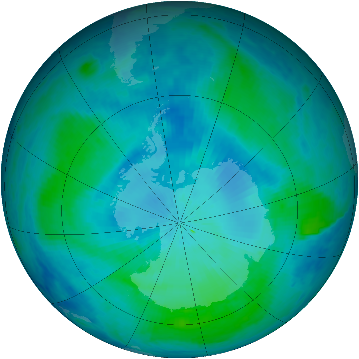 Antarctic ozone map for 16 February 2000