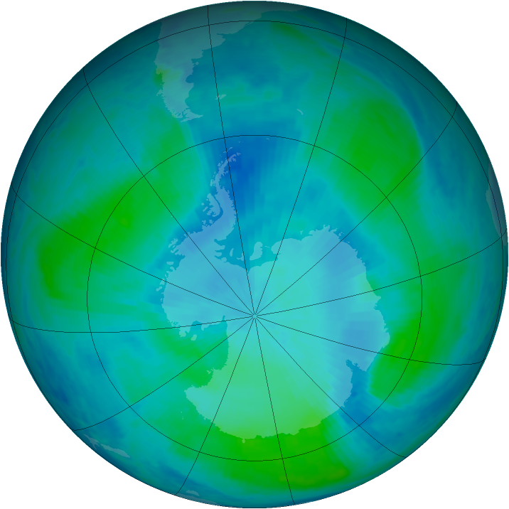 Antarctic ozone map for 17 February 2000