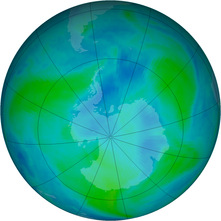 Antarctic ozone map for 18 February 2000