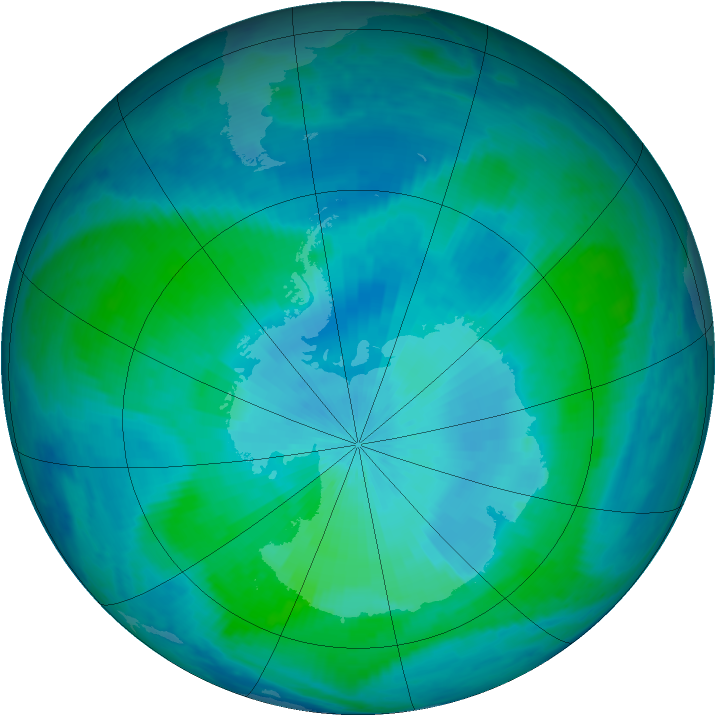 Antarctic ozone map for 19 February 2000
