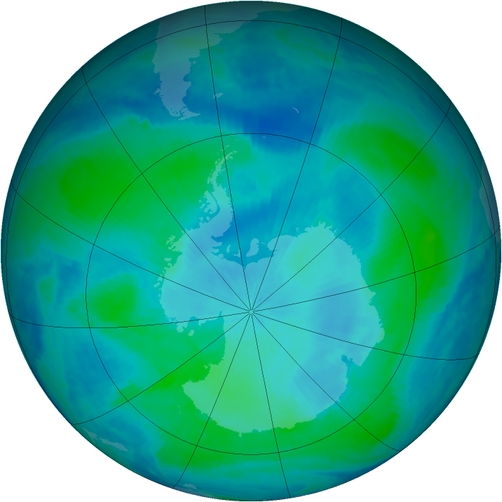 Antarctic ozone map for 20 February 2000