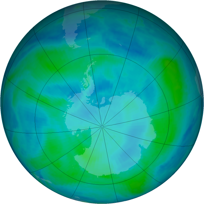 Antarctic ozone map for 21 February 2000
