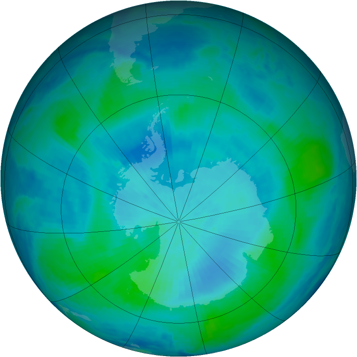 Antarctic ozone map for 22 February 2000