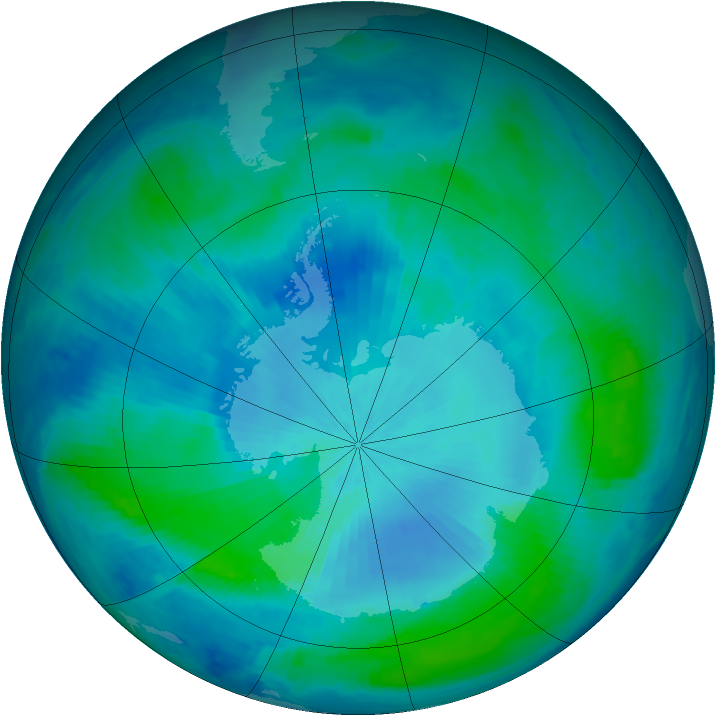 Antarctic ozone map for 23 February 2000
